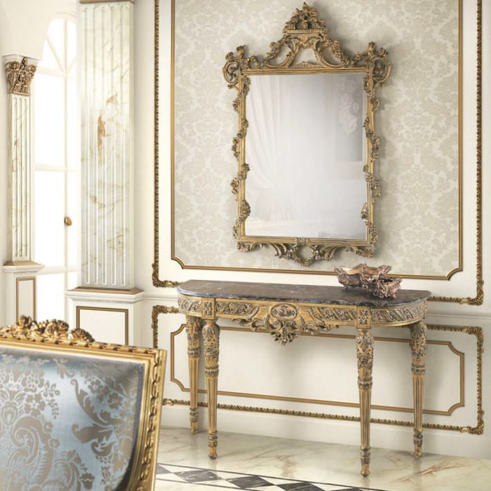 Mobilier : Ensemble Console avec Miroir Louis XVI - Benny Benlolo Ensemblier Décorateur à Paris
